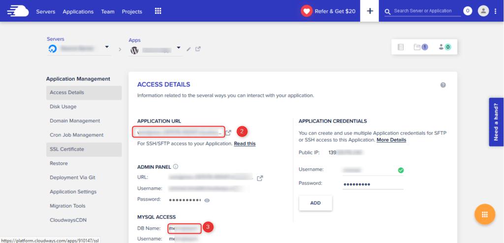 איך למצוא את כתובת היעד של האתר ואת שם מסד הנתונים
