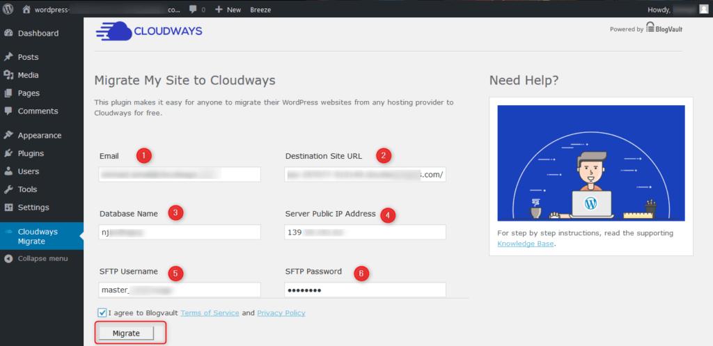 לחצו על כפתור Migrate כדי להתחיל את ההעברה של האתר שלכם