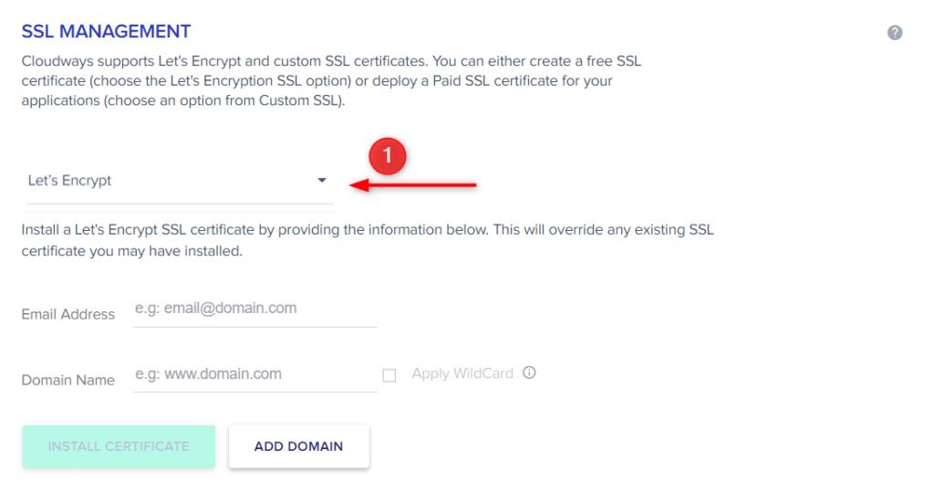 בחרו תעודת SSL מסוג Let's Encrypt