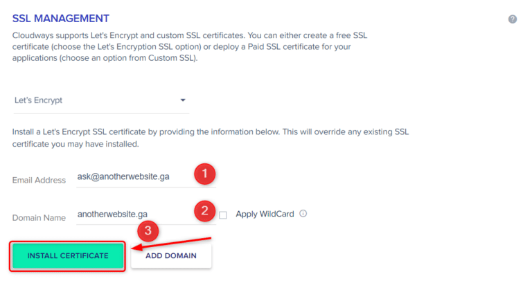התקנת תעודת SSL