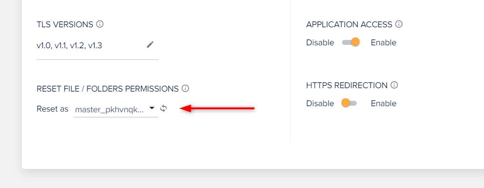 לחצו על הכפתור של ה-RESET FILE / FOLDERS PERMISSIONS כדי לאפס את ההרשאות