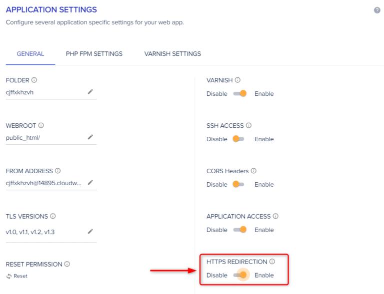 הפעל את ה-https באמצעות הכפתור Enable