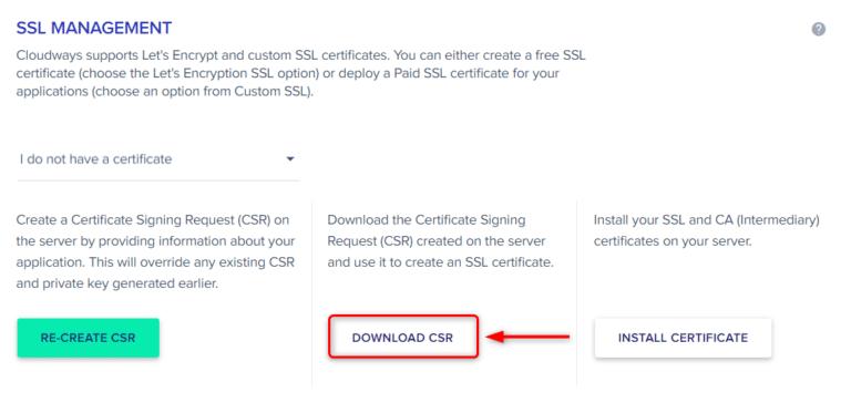 קובץ ה-CSR ישמש בעת רכישת אישור ה-SSL