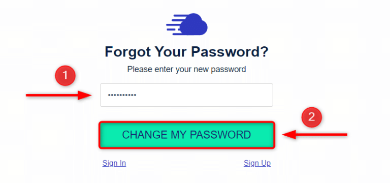לחצו על Change My Password כדי לסיים את תהליך איפוס הסיסמא