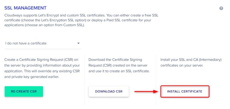 השלב האחרון בהתקנת אישור ה-SSL, לכן לחצו על INSTALL CERTIFICATE