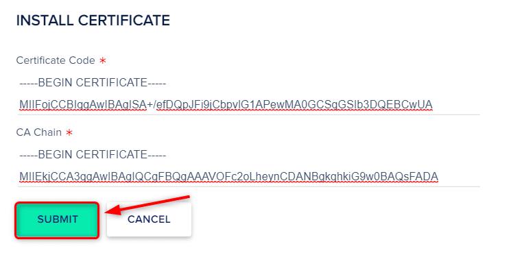 הדביקו את כל הפרטים הדרושים והקישו על SUBMIT כדי לפרוס את האישור