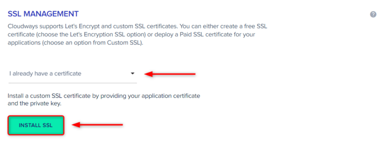"""בחרו ב-""""I already have a certificate"""". לאחר מכן לחצו על INSTALL SSL"""