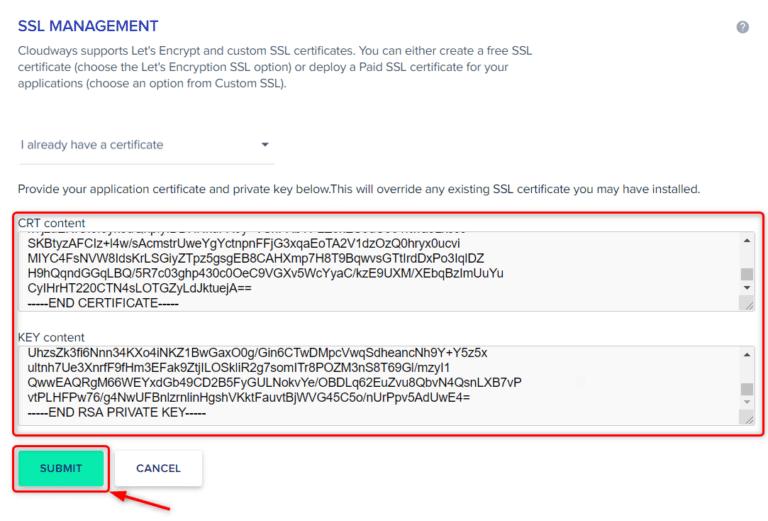 הדביקו את כל הפרטים הדרושים ולחצו על SUBMIT כדי לפרוס את האישור