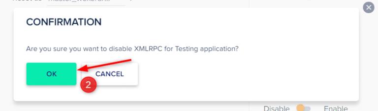 אישור השבתת ה-XMLRPC