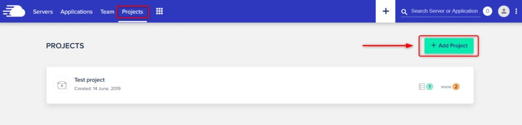 לחצו על כפתור add project כדי להוסיף פרויקט חדש