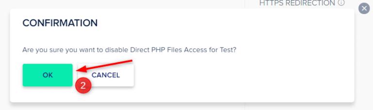 כאן תתבקשו לאשר את השבתת הגישה הישירה לקבצי PHP