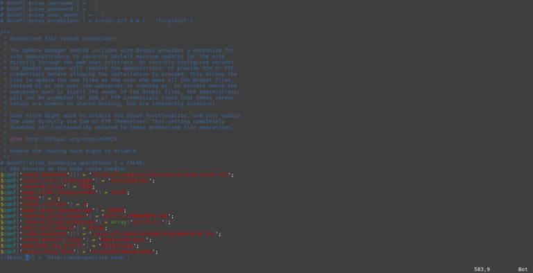 עדכנו את הגדרות ה-Setting.php של דרופל